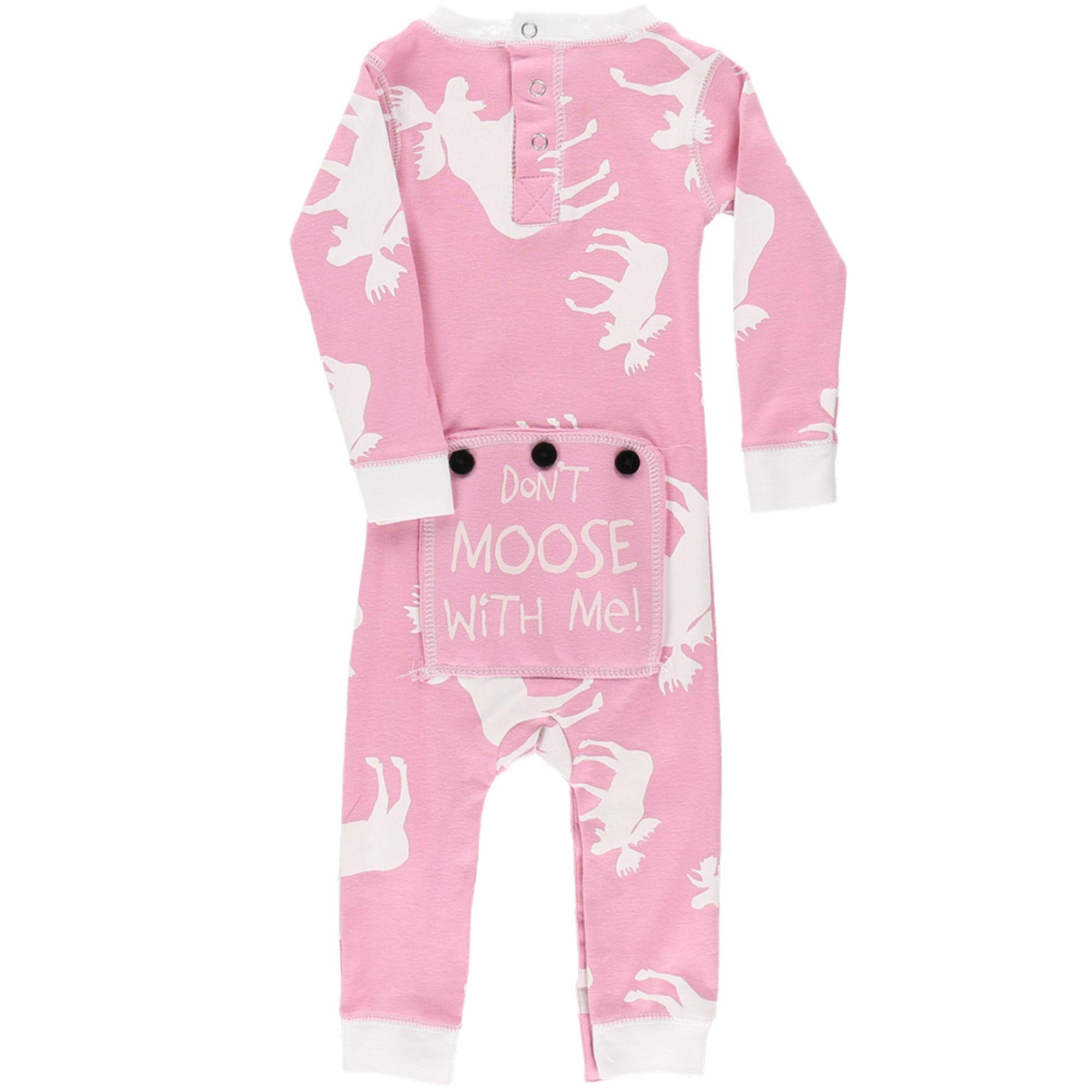 Lazy One Kids Children PJ Pajamas Sleepwear Toddler Pink Zebra Born To be Wild