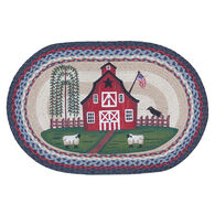 Capitol Earth Barn Scene Oval Patch Braided Rug