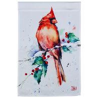 Evergreen Cardinal and Holly Satin Garden Flag