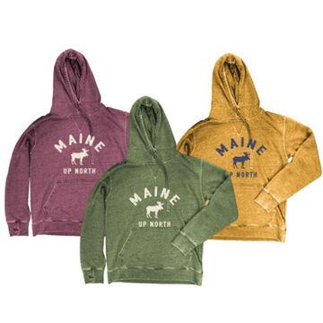 Ocean Beach Womens KTP Moose Maine Up North Vintage Hooded Sweatshirt