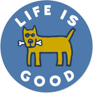 "Life is Good Rocket Bone 4"" Circle Sticker"