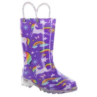 Western Chief Girls' Rainbow Unicorn Lighted Rain Boot