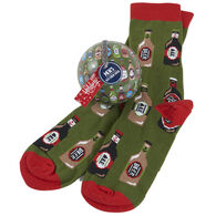 Hatley Little Blue House Men's Beer Bottles Can Crew Sock