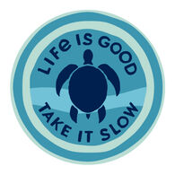 "Life is Good Take It Slow Turtle 4"" Circle Sticker"
