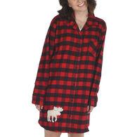 Lazy One Women's Flannel Moose Plaid Night Shirt