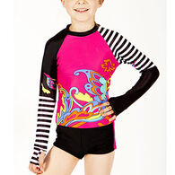Girl & Co. Girls' Evi Printed Rash Guard, 2pc