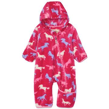 Hatley Infant Girls Horse Silhouettes Fuzzy Fleece Baby Bundler
