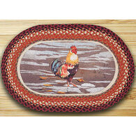 Capitol Earth Yard Boss Rooster Oval Patch Braided Rug