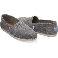 TOMS Women's Steel Grey Washed Denim Classic Alpargata Shoe