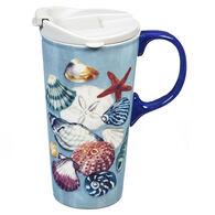 Evergreen Seashells Ceramic Travel Cup w/ Lid