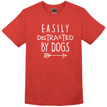 Pacific Art Womens Easily Distracted By Dogs Short-Sleeve T-Shirt