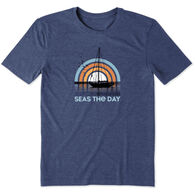 Life is Good Men's Seas the Day Sailboat Cool Tee Short-Sleeve T-Shirt