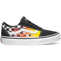 Vans Boys' Ward Suede Canvas Flame Checker Sneaker