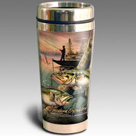 American Expedition Wildlife Collage Series Stainless Steel Large Mouth Bass Travel Mug