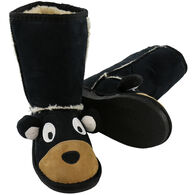 Lazy One Boys' & Girls' Black Bear Toasty Toez Slipper