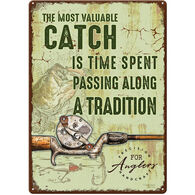 Rivers Edge Most Valuable Catch Embossed Tin Sign