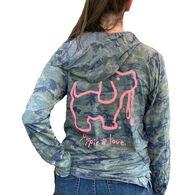Puppie Love Women's Camo Logo Pup Hoodie Long-Sleeve T-Shirt