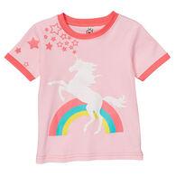 Doodle Pants Toddler Girls' Rainbow Unicorn Short-Sleeve T-Shirt