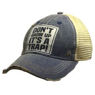 Vintage Life Women's Don't Grow Up It's A Trap Distressed Trucker Hat