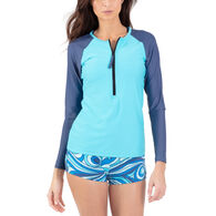 Wave Life Women's Aqua Spray Zipper Rashguard Long-Sleeve Swim Top
