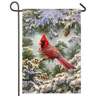 Evergreen Snowy Cardinal Satin Garden Flag