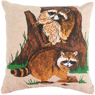 "Maine Balsam Fir Raccoon 7""x 7"" Balsam Pillow"