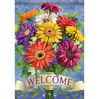 Carson Home Accents Glittertrends Welcome Gerbera Garden Flag