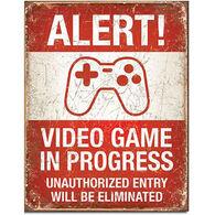 Desperate Enterprises Video Game In Progress Tin Sign