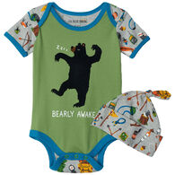 Hatley Infant Boy's Little Blue House Retro Camping Baby Bodysuit with Hat