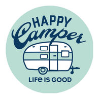 """Life is Good Happy Camper 4"""" Circle Sticker"""