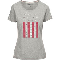 North River Women's Americana Vertical Flag Print Slub Jersey Crew-Neck Short-Sleeve T-Shirt