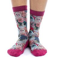 Good Luck Sock Women's Floral Cats Crew Sock