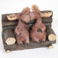 Slifka Sales Co Kissing Moose Couple On Bench Figurine
