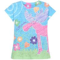 Lakeshirts Girl's Blue 84 Dearest Moose Short-Sleeve T-Shirt