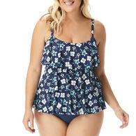 Beach House - Swimwear Anywear Women's Plus Size Jane Ruffle Garden Variety Tankini Top Swimsuit