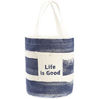 Life is Good Women's Darkest Blue Painted Stripe Beach Tote