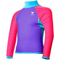 TYR Girls' Solid Splice Rashguard Long-Sleeve Top