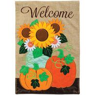 Carson Home Accents Burlap Pumpkin Double Appliqué Garden Flag