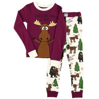 Lazy One Girl's Moose Hug PJ Set