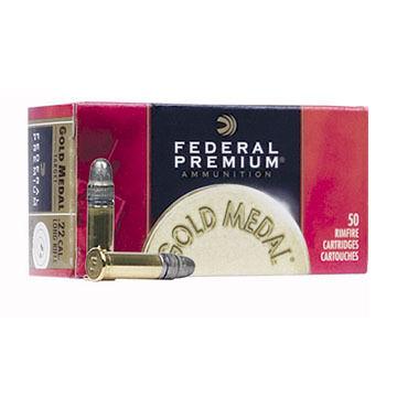 Federal Premium Gold Medal 22 LR 40 Grain 1080 FPS LRN Rimfire Ammo (50)