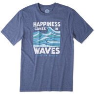 Life is Good Men's Happiness Comes In Waves Short-Sleeve Cool T-Shirt