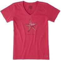 Life is Good Women's Starfish Crusher Vee Short-Sleeve T-Shirt