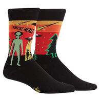 Sock It To Me Men's They're Here Alien Crew Sock