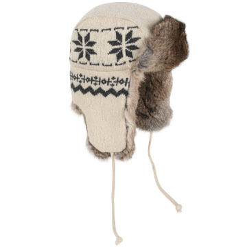 46c2be1e854 Crown Cap Men s Lambs Wool Snowflake-Knit Rabbit Trimmed Aviator ...