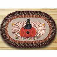 Capitol Earth Braided Oval Black Cat Pumpkin Rug