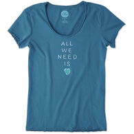 Life is Good Women's Love Stack Smooth Short-Sleeve Shirt