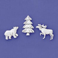 Basic Spirit Moose Bear Tree Magnet Set