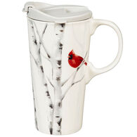 Evergreen Perching Cardinal Ceramic Travel Cup w/ Flip Top Lid