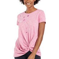 Life is Good Women's Flower Cascade Twist Short-Sleeve T-Shirt
