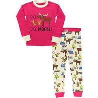 Lazy One Girl's Duck Duck Moose Long-Sleeve Pajama Set